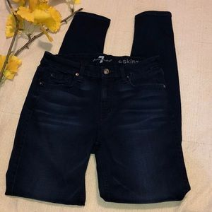 7 for all Mankind midnight blue skinny jeans